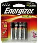 !!DISC!! ENERGIZER AAA ALKALINE MAX BATTERIES (4 PACK) E92AAA4